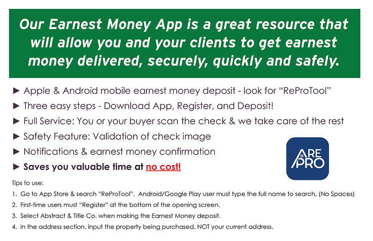ReProTool Earnest Money Deposit App