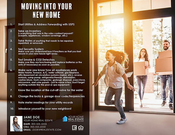 Moving into your new home infographic