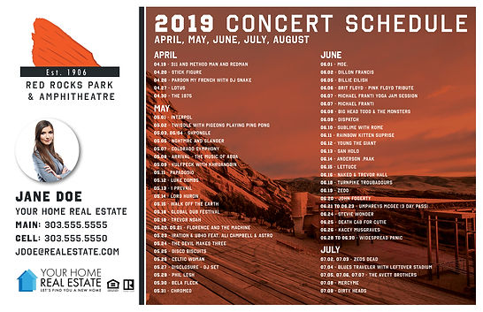 Red Rock Concert Schedule Template