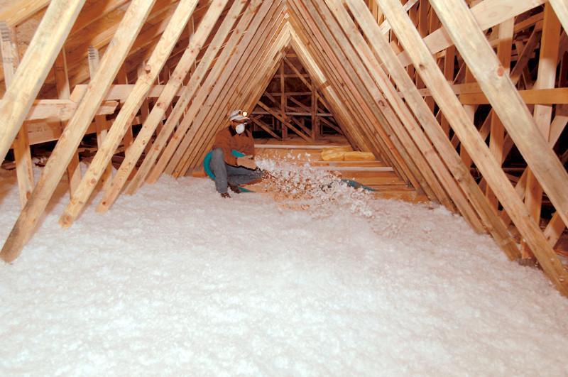 Blown-in attic insulation