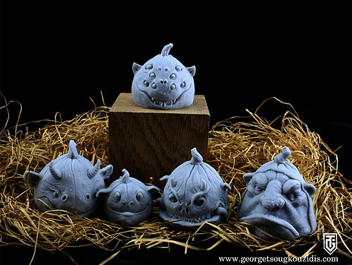 Pumpkins monster heads ver4