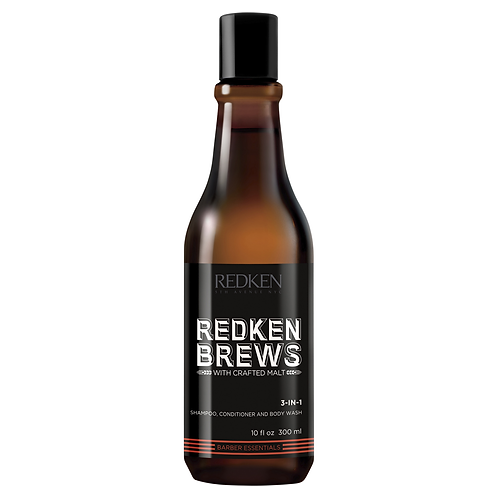 REDKEN BREWS HAIRCARE 3 in 1 Shampoo, Conditioner & Body Wash 300ML
