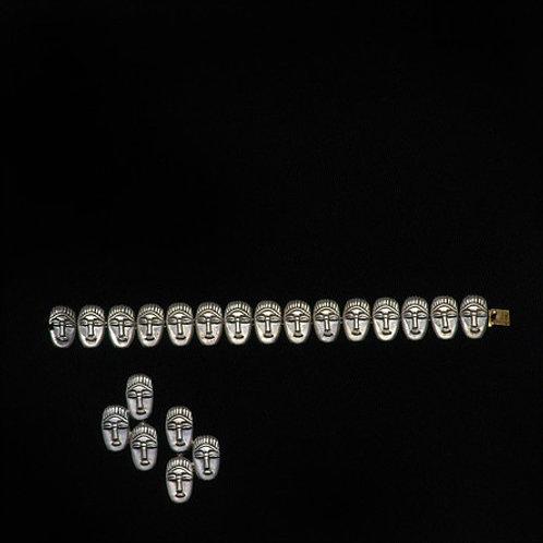 Máscara africana: pulsera y aretes de plata
