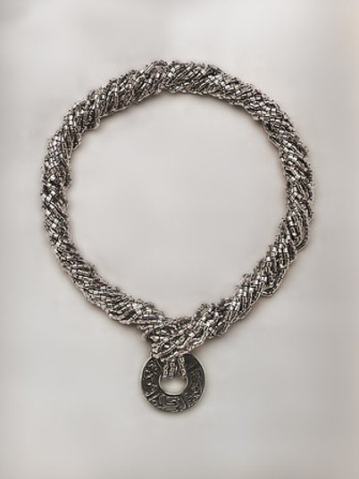 Juego de pelota: collar de tres cadenas de plata