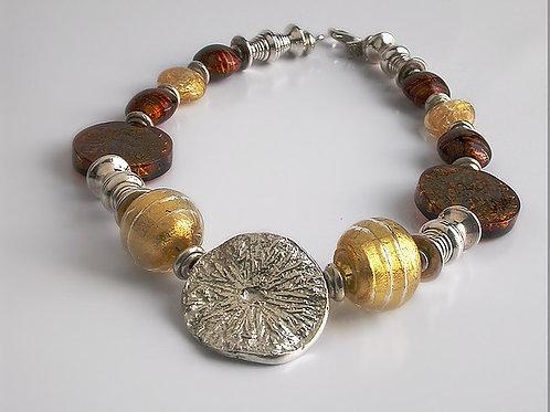 Limón: collar de plata con piedras de murano