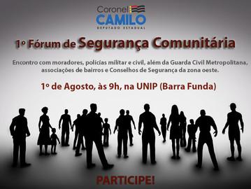Perdizes, Pacaembu, Lapa e Vila Leopoldina terão 1º  Fórum de Segurança Comunitária