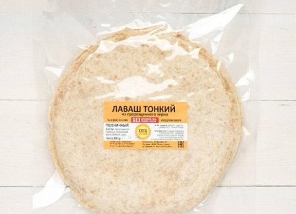 """Лаваш пшеничный тонкий 25см 400г (в уп. 10 шт), """"Хлеб для Жизни"""""""