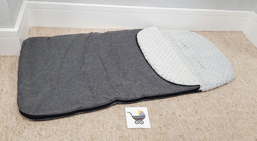 Custom made long universal Footmuff/cosytoes grey melange