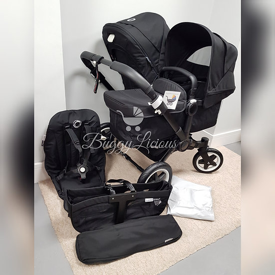 Preloved Bugaboo Donkey2/3 Black Pram Duo Double Includes New parts