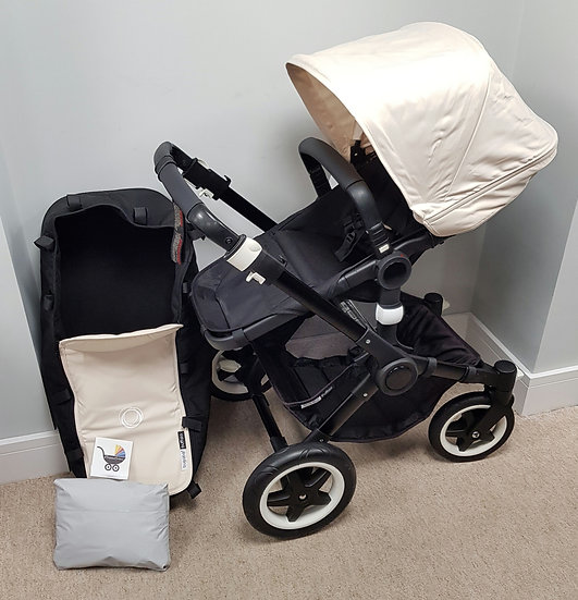 Preloved Bugaboo Buffalo Off White Pram with loads of new parts