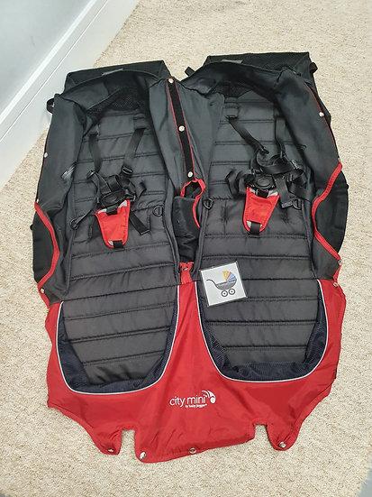 Baby Jogger City Mini Double Seat Fabrics - Red Black