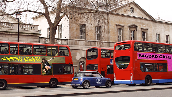 Wise Childrens Posters ovelaid onto London buses