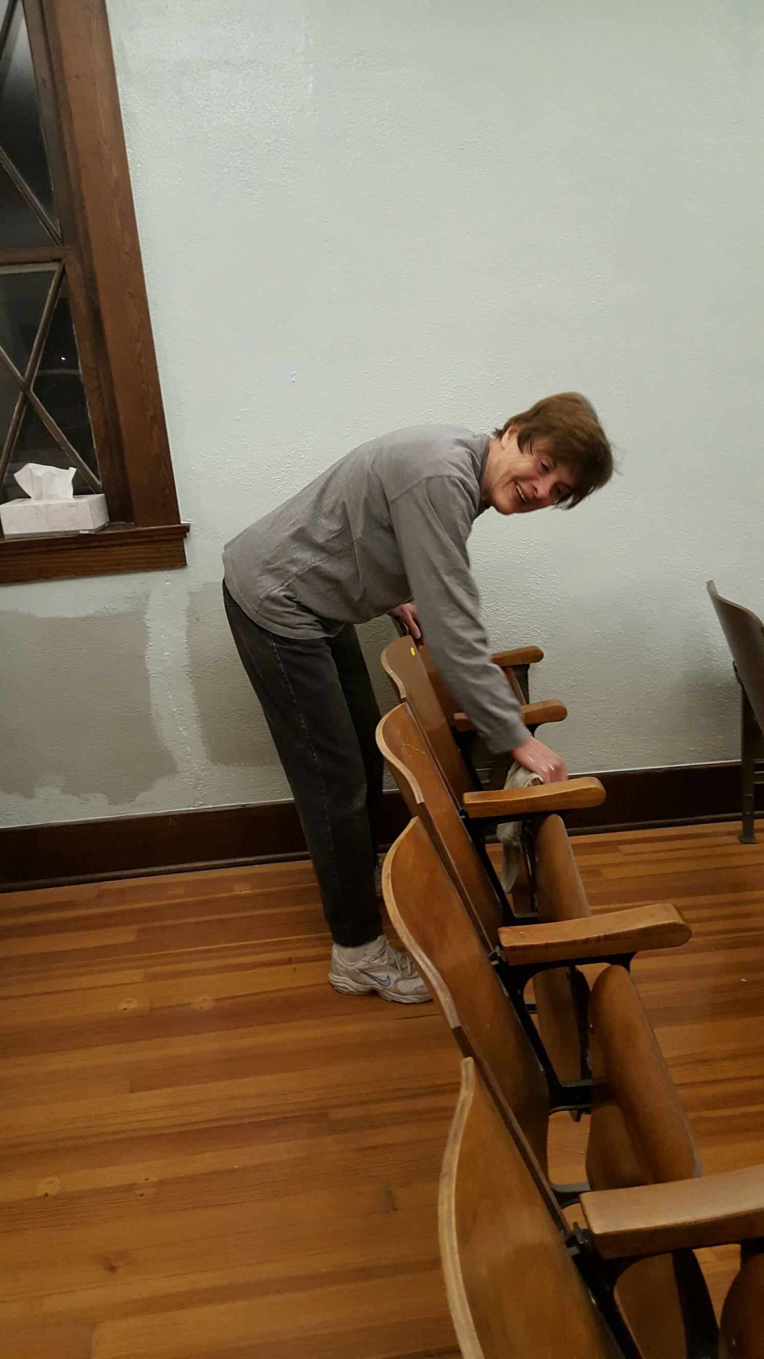 Cleaning the  seating