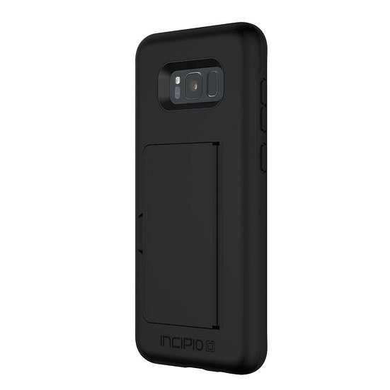 INCIPIO Black Stowaway credit card case with kickstand for Samsung Galaxy S8+