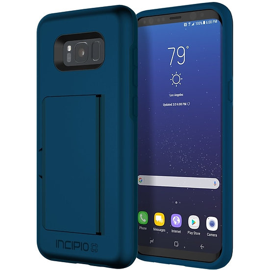 INCIPIO Blue Stowaway credit card case with kickstand for Samsung Galaxy S8+