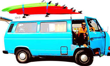 Norwegan surf van with surf boards on top