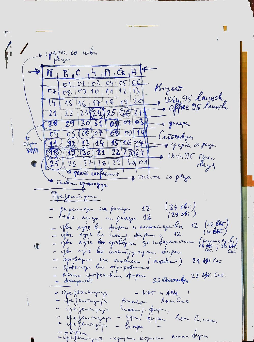 Проектен план за август/септември 1995