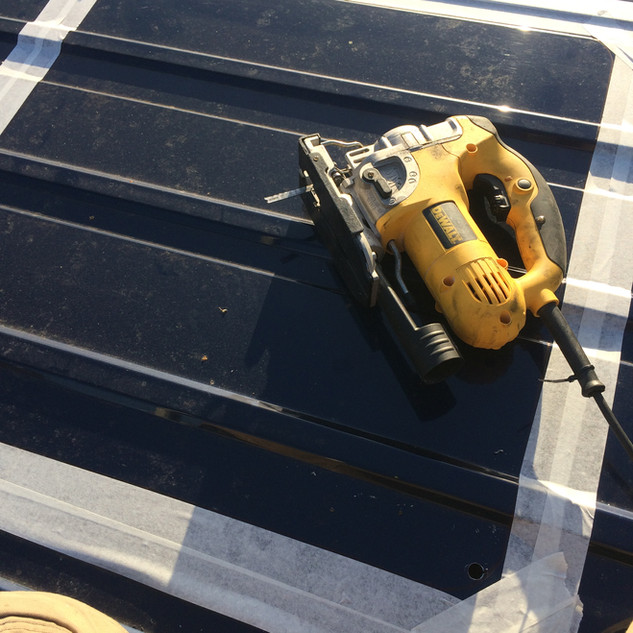 Templating and cutting for sky hatch