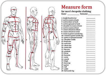 measure form for bespoke cloths
