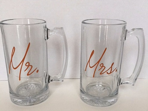 Pair of Personalized Mr. & Mrs Beer Mugs