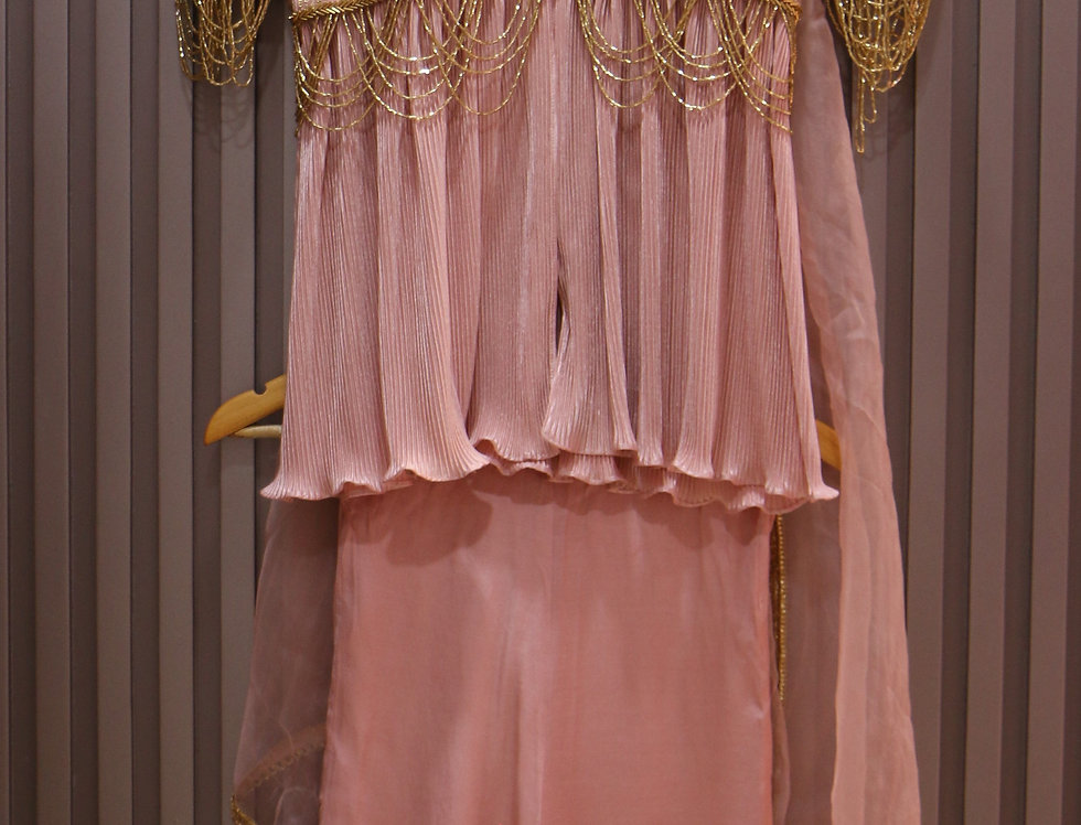 Pink Crush Peplum with Pallazo & Organza Dupatta