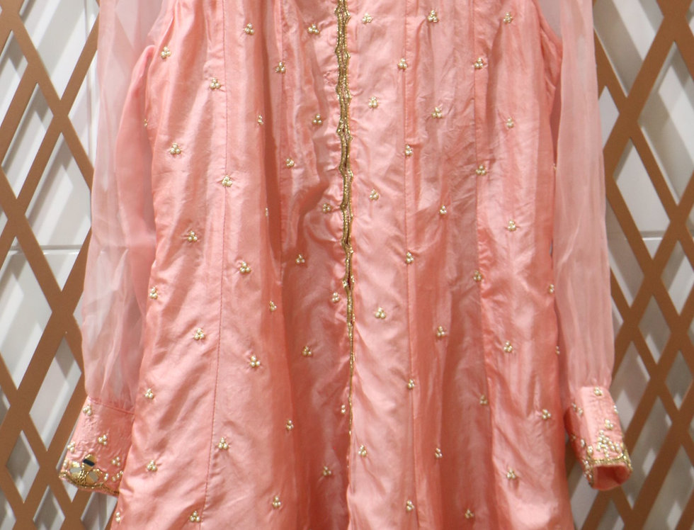 Peach Pure Silk Hand Embellished Top
