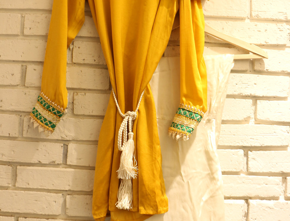 Drop Shoulder Ochre Yellow Top with Ivory High Low Pant & Belt