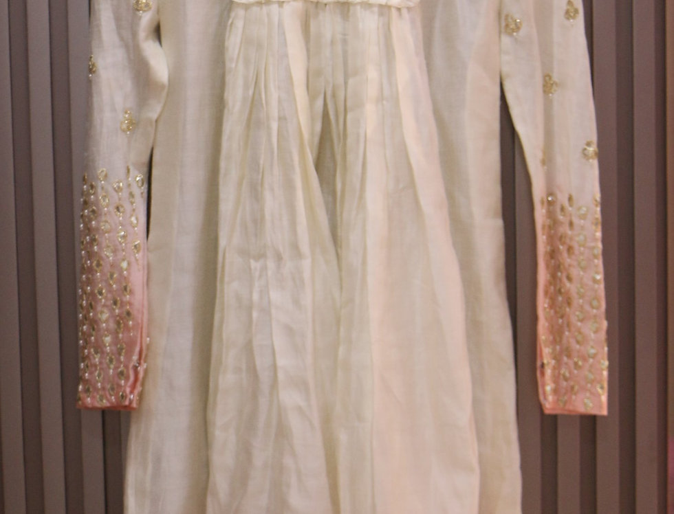 Cream & Peach Shaded Chanderi SilkTop