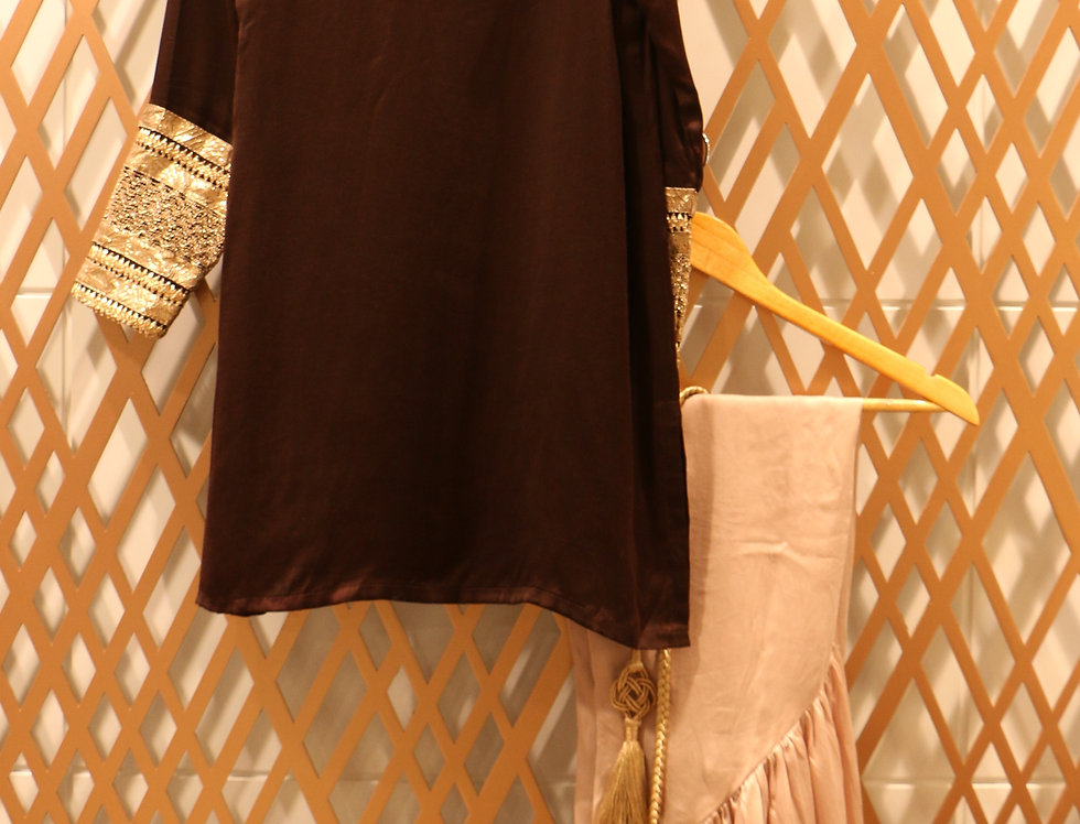 Drop Shoulder Chocolate Brown Top with Bisque Brown High Low Pant & Belt