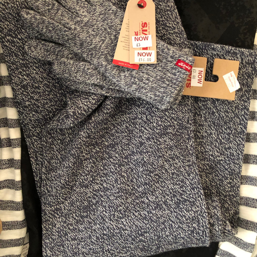 Levi's Grey Scarf and Glove Set
