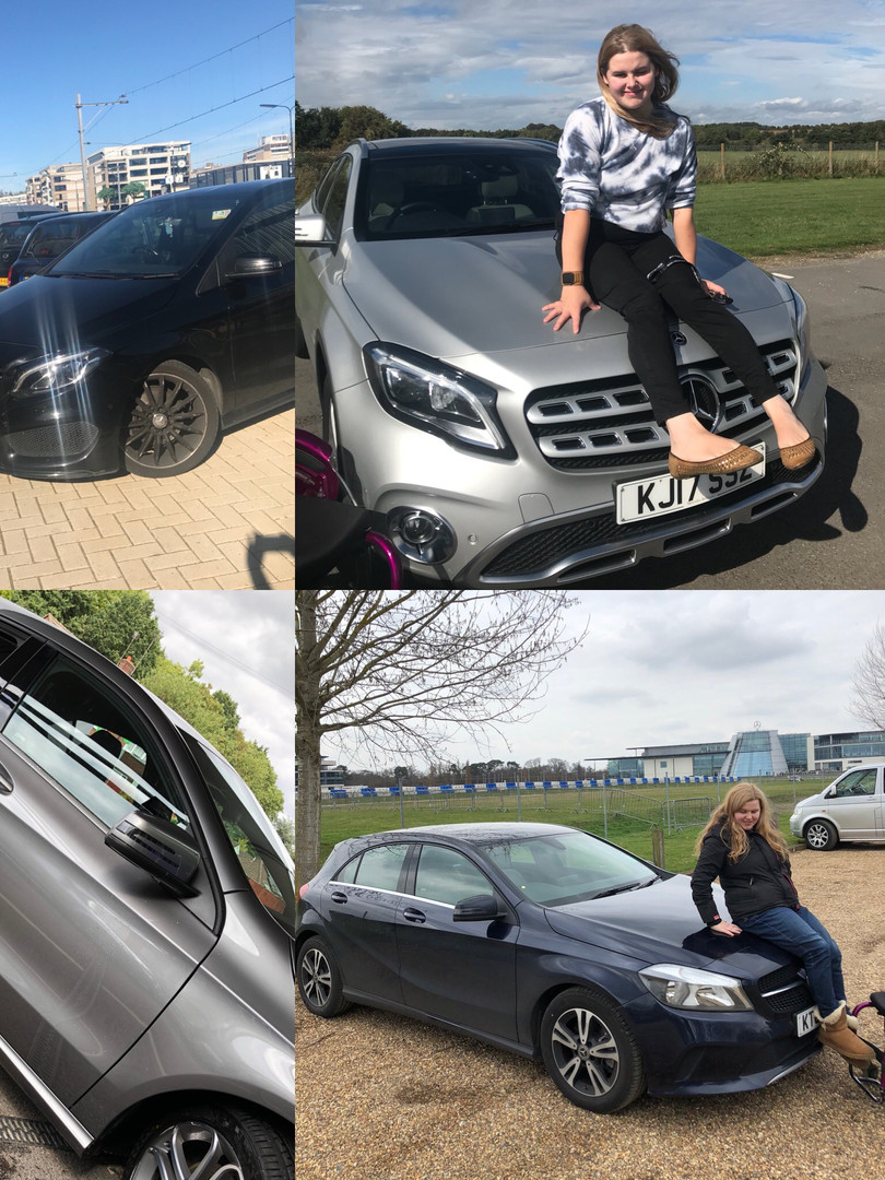 Collage of Steph in various poses with different cars from the Mercedes-Benz range.