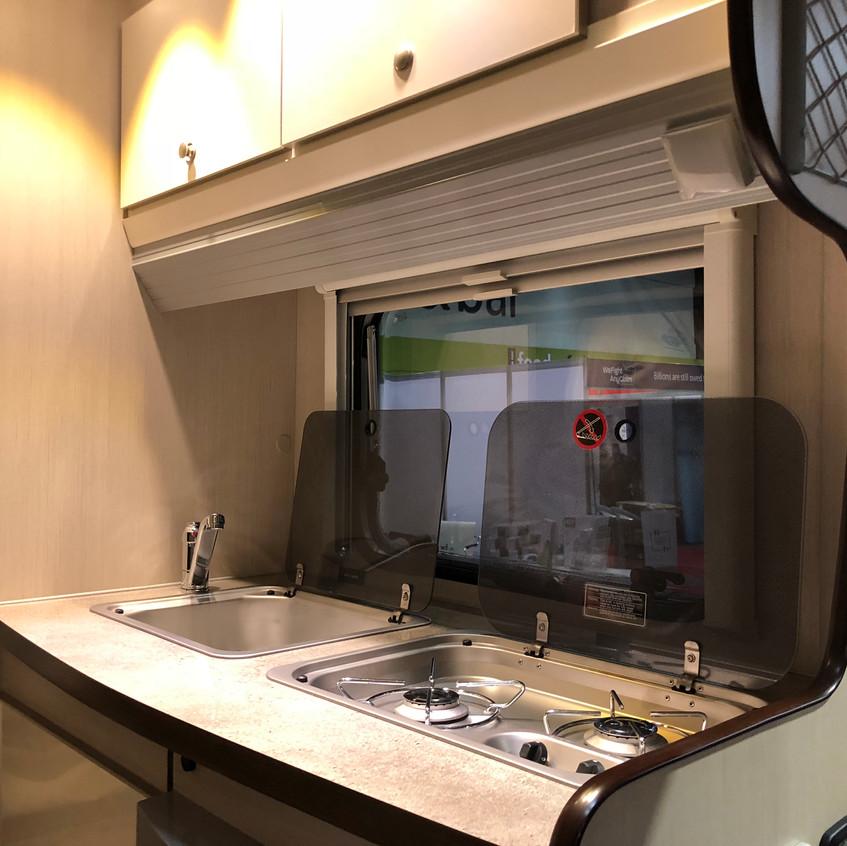 Caravan kitchen area