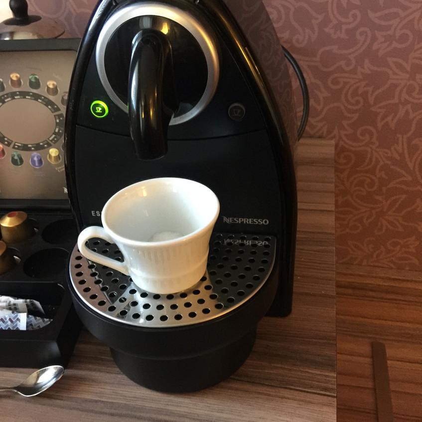 Nespresso machine in living area