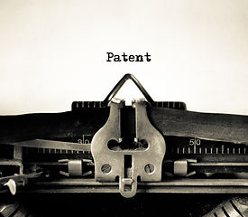 Patent message typed on a vintage typewr