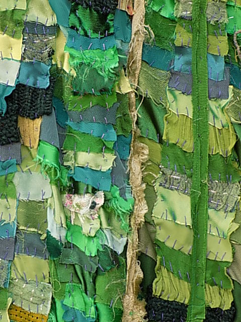'Beneath the folds with Christine Cunningham' explores capturing the essence of Springtime with a layered technique of naturally frayed fabric-off cuts