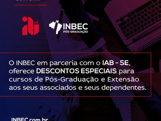 O INBEC em parceria com o IAB-SE oferece DESCONTOS ESPECIAIS para cursos de Pós-Graduação e Extensão