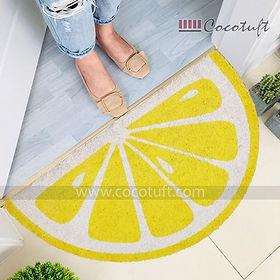 Lemon Shaped Vinyl Backed Coir Floor Mat