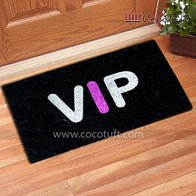 VIP printed Black Glitter Coir Door Mat
