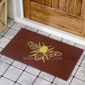 Bee printed Brown Glitter Coir Door Mat
