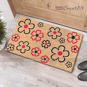 Multicolour Flowers Flocked Nylon backed Coir Door Mat