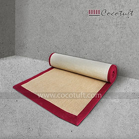 Jute Yoga Mat with Red Cotton Border and Latex Backing