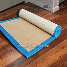 Jute Yoga Mat with Light Blue Cotton Border and Latex Backing