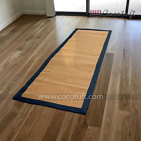 Jute Yoga Mat with Dark Blue Cotton Border and Latex Backing