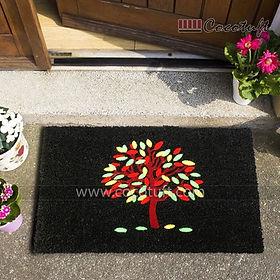 Multicolour Tree design Flocked Nylon backed Black Coir Door Mat
