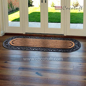 Oblong Bordered Moulded Coir and Rubber Mat