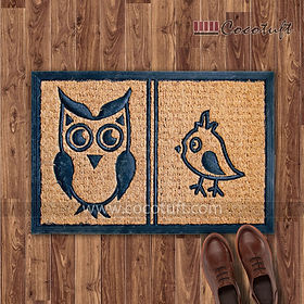 Owl design Moulded Coir and Rubber Mat