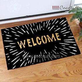 Welcome printed Black Glitter Coir Entrance Door Mat