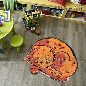 Cat Shaped Vinyl Backed Coir Floor Mat