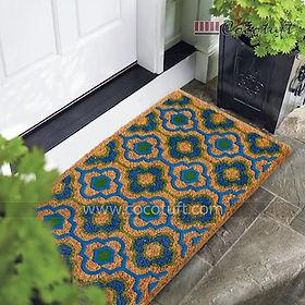 Pattern design Flocked Nylon backed Coir Door Mat