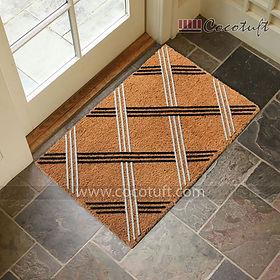 Line Pattern design Flocked Nylon backed Coir Door Mat